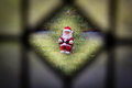Looking at santa clause rocking through the window Royalty Free Stock Photos