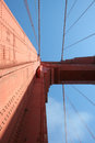 Looking skyward on the golden gate bridge san francisco a clean daytime photo straight up at a tower Stock Image