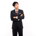 Looking up Asian business man Stock Photos