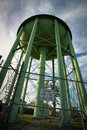 Looking Up at Giant Green Water Tower Royalty Free Stock Photo