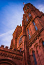 Looking up at the smithsonian castle in washington dc Royalty Free Stock Photos