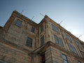 Looking upward at old prison building on alcatraz island california Stock Photography