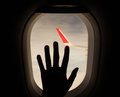 Looking through window aircraft during flight Royalty Free Stock Photo