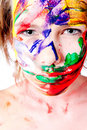Looking at you with paint smeared on my face Royalty Free Stock Photos