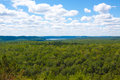 Lookout over rivers lake at algonquin park scenic view of a and the forest ontario canada Royalty Free Stock Photo