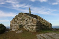 Lookout and way point rhoscolyn anglesey wales old dry stone rest area Stock Photography