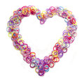 Loom band bracelets arranged in a heart shape rubber bands Royalty Free Stock Photography