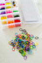 Loom bands set of rainbow colored Stock Image