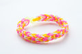 Loom rubber bracelets on white background Stock Photos