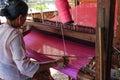 Looming inle lake in myanmar burmar burmese worker is Royalty Free Stock Image