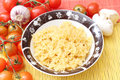 Loop noodles some small in a bowl Royalty Free Stock Photography