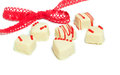 Loop ribbon chocolates valentine s day on white to Royalty Free Stock Image