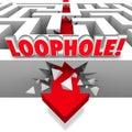 Loophole Arrow Crashing Through Maze Avoid Paying Taxes Cheating Royalty Free Stock Photo