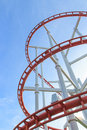 Loops of rollercoaster under blue sky Royalty Free Stock Photo