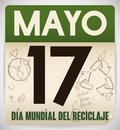 Recycled Loose-leaf Calendar for Recycling Day Celebration in Spanish, Vector Illustration