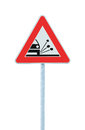 Loose Shoulder Gravel Chippings Hazard Warning Road Sign Isolated Roadside Traffic Signage Pole Post Signpost Royalty Free Stock Photo