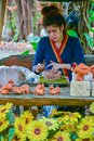 Craftswoman making pottery of dolls and sculpture of animals Royalty Free Stock Photo
