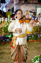Lopburi, Thailand : Man playing violin. Royalty Free Stock Images