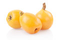 Loquat medlar or on white clipping path included Royalty Free Stock Image