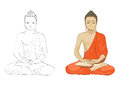 Lord buddha this illustration is with colored and outlined Royalty Free Stock Image