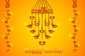 Lord ganesha in hanging diya illustration of for happy diwali Royalty Free Stock Images