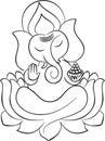 Lord Ganesha on lotus line art