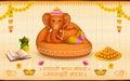 Lord ganesha made of clay ganesh chaturthi illustration statue with text ganpati bappa morya oh ganpati my Stock Photo