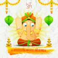 Lord ganesha made of paper for ganesh chaturthi illustration statue with text ganpati bappa morya oh ganpati my Royalty Free Stock Photo