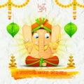 Lord ganesha made of paper for ganesh chaturthi illustration statue with text ganpati bappa morya oh ganpati my Royalty Free Stock Photo