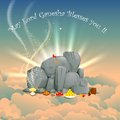 Lord ganesha vector illustration of on clouds Stock Photography