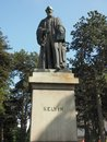 Lord Kelvin statue in the Botanic Gardens in Belfast Royalty Free Stock Photo