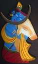 Lord krishna and the cow beautiful art work of Royalty Free Stock Photography