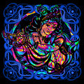 Lord Krishna is a psychedelic painting