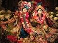 Lord krishna and radha rani with iskcon temple Royalty Free Stock Photo