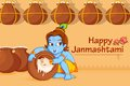 Lord krishna stealing makhaan in janmashtami illustration of Royalty Free Stock Image