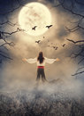 Lord man standing on the rock looking on spooky sky. Halloween s Royalty Free Stock Photo