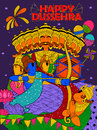Lord Ram, Sita, Laxmana, Hanuman and Ravana in Dussehra Navratri festival of India poster