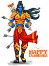 Lord Rama with arrow in Dussehra Navratri festival of India poster