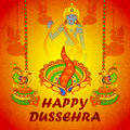 Lord Rama in Happy Dussehra with colorful lamp