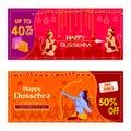 Lord Rama killing Ravana in Happy Dussehra festival offer