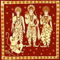 Lord Rama, Laxmana, Sita with Hanuma background