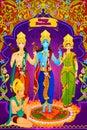 Lord Rama, Laxmana, Sita with Hanuman in vector for Happy Dussehra