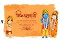 Lord Rama, Sita and Hanuman in Dussehra poster