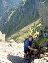 Lord s rake scafell cumbria a fell walker scrambling on england uk Royalty Free Stock Photos