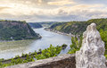 Loreley figure and Rhine valley  Landscape sankt Goarshausen Ger Royalty Free Stock Photo