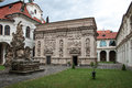 Loreta prague czech republic june courtyard of place consisting of a cloister the church of church of nativity holy hut and Stock Photos