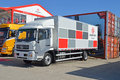 A lorry on display owned by sailing sponsors dongfeng at their headquarters in the alicante ocean race village Stock Images