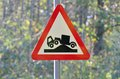 Lorry hump warning sign red triangle Stock Image