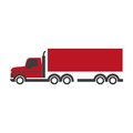 Lorry symbol in red and black colors isolated on white Royalty Free Stock Photo