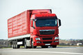 Lorry truck on highway road with trailer autobahn interstate Royalty Free Stock Photos
